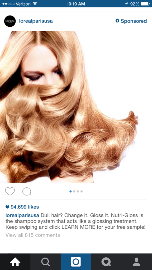 L'Oreal ad on my Instagram feed