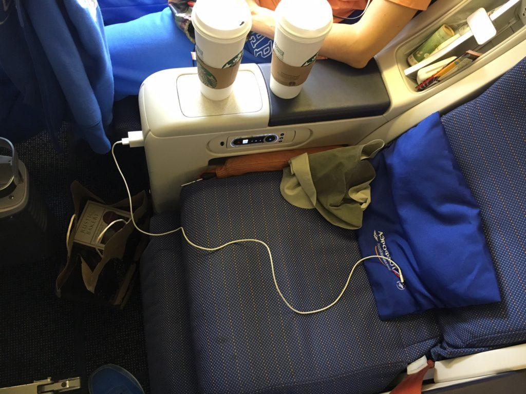 Aeroflot Comfort Class Seat in full recline
